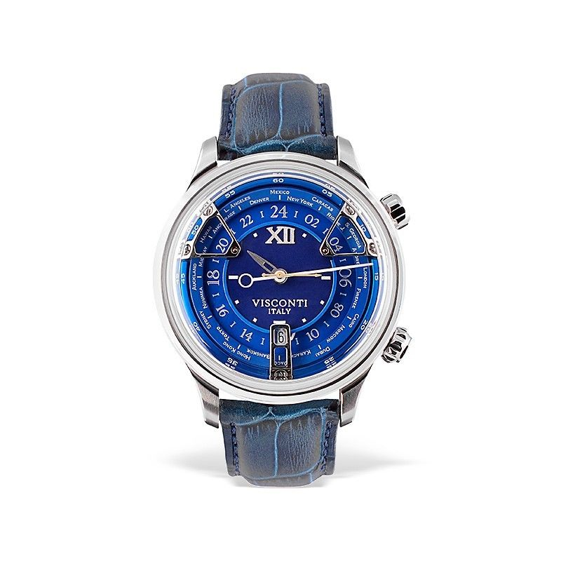 Visconti Italy Opera GMT Stainless Steel with Blue Dial 43.5mm Automatic Watch
