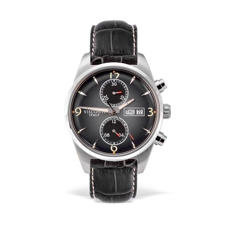 Visconti Italy Roma 60s Chronograph Stainless Steel Black Dial Automatic Watch