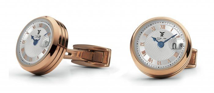 TF Est 1968 Big Date Stainless Steel Rose Gold Rotating Big Date Cufflinks Set