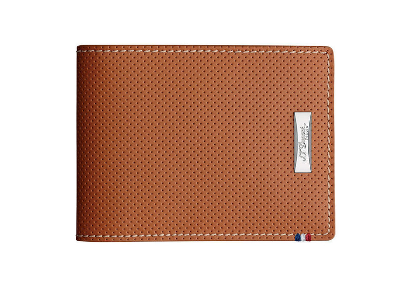 ST Dupont Defi Cognac Brown Perforated Leather 6cc Billfold Wallet ST170501