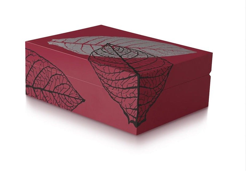 Davidoff Zino Graphic Leaf Collection Small Model Red Humidor for 50 - 60 Cigars