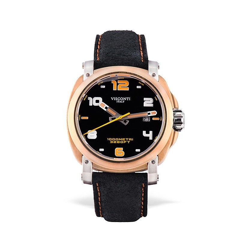 Visconti Italy Majorca Bronze & Stainless Steel Black Dial 43mm Automatic Watch