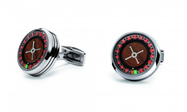 TF Est 1968 Casino Roulette Wheel Stainless Steel Wooden Look Cufflinks Set-TF Est 1968-Truphae