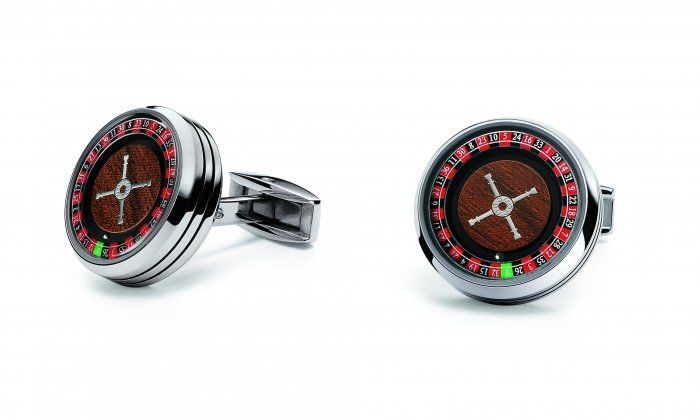 TF Est 1968 Casino Roulette Wheel Stainless Steel Wooden Look Cufflinks Set