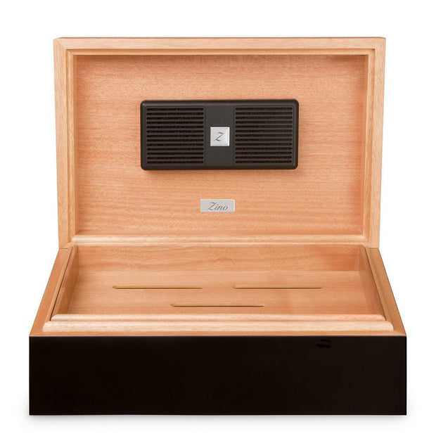 Davidoff Zino Z80 Wooden Oak & Black Lacquer Humidor for 70 - 80 Cigars 101892
