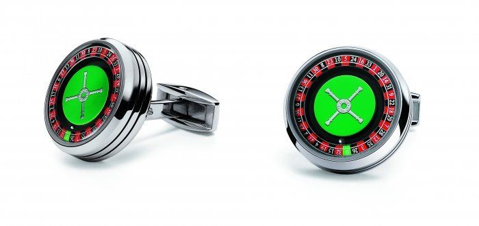 TF Est 1968 Casino Roulette Wheel Stainless Steel Green Carpet Cufflinks Set