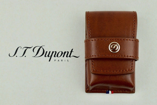 ST Dupont Ligne 2 Brown Leather Single One Lighter Pouch Case ST180124-ST Dupont-Truphae