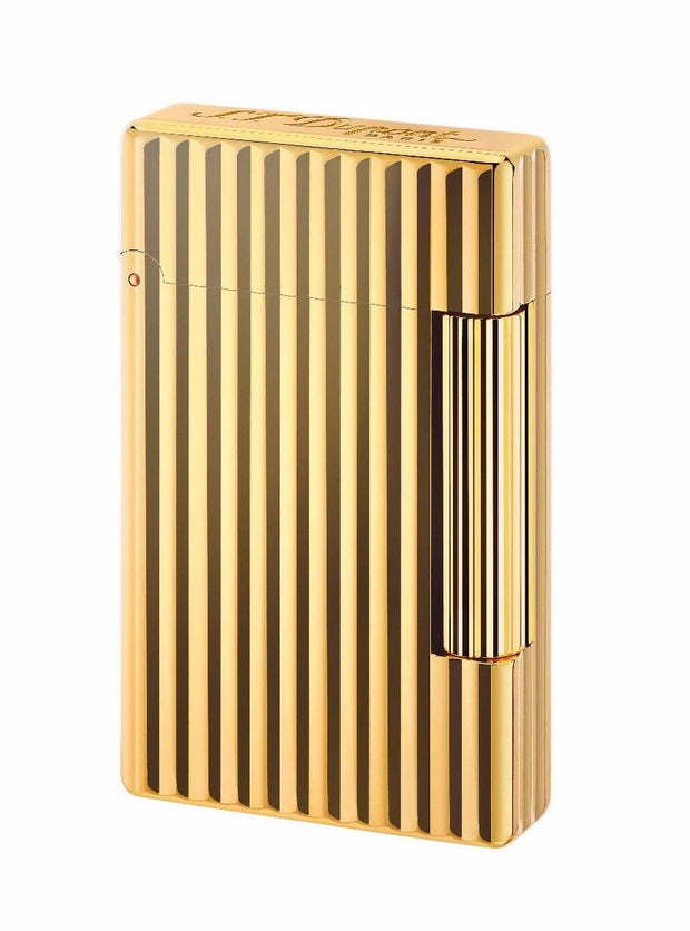 ST Dupont Initial Golden Bronze Finish Striped Pattern Lighter ST020803-ST Dupont-Truphae
