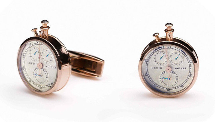 TF Est 1968 Louis Moinet Watch Themed Model Rose Gold Plated Cufflinks Set