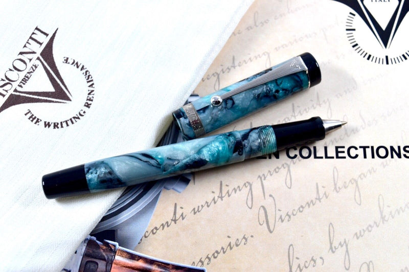 Visconti Ponte Vecchio Silver Granite Light Aqua Blue Rollerball Pen