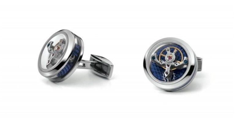 TF Est 1968 Tourbillon Openside Steel Blue Bugatti Themed Carbon Cufflinks Set