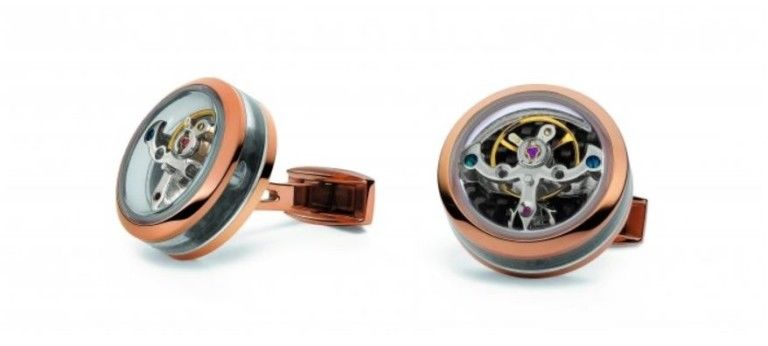 TF Est 1968 Tourbillon Openside Rose Gold Black Carbon Cufflinks Set Watch Theme