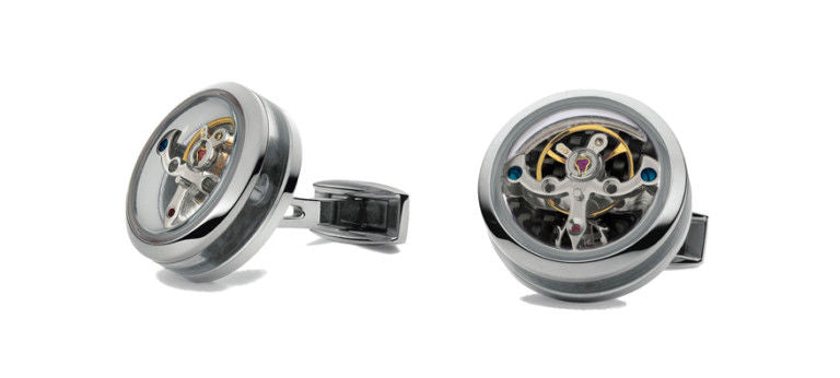 TF Est 1968 Tourbillon Openside Stainless Steel Black Carbon Cufflinks Set