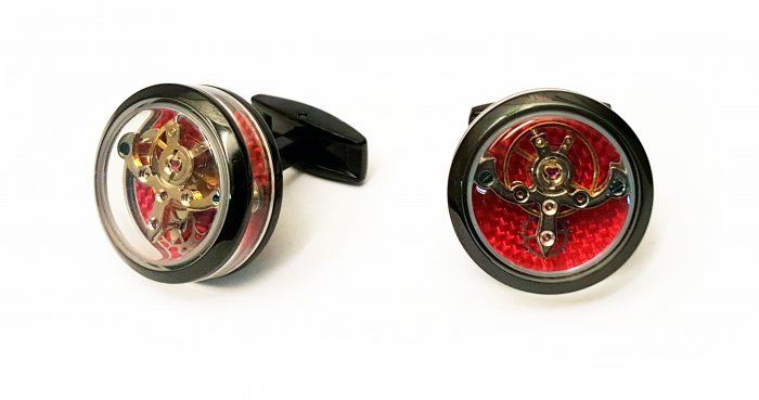 TF Est 1968 Tourbillon Openside Black PVD Ferrari Red Carbon Cufflinks Set