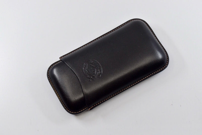Diamond Crown Black Leather Triple Three Cigar Case