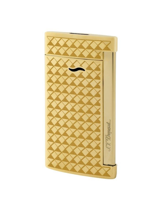 ST Dupont Slim 7 Fire Head Golden Gold Plated Lighter ST027715-ST Dupont-Truphae