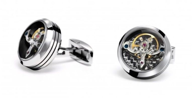TF Est 1968 Tourbillon Model Shiny Stainless Steel Black Carbon Cufflinks Set