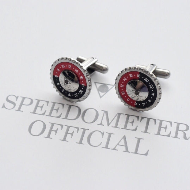 Speedometer Official Silver Steel with Red & Black Cufflinks Set-Speedometer Official-Truphae