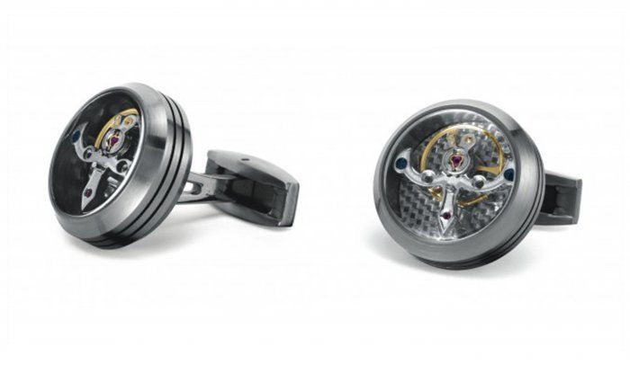TF Est 1968 Tourbillon Model Matte Stainless Steel Silver Carbon Cufflinks Set