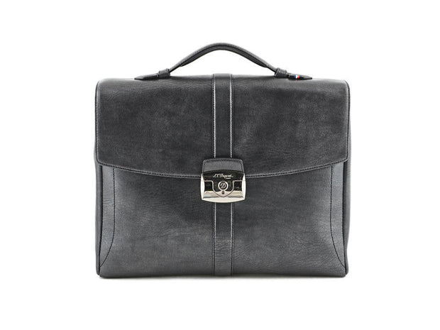 ST Dupont Line D Soft Diamond Leather Flap Over One Divider Briefcase ST181201-ST Dupont-Truphae
