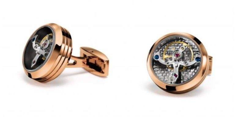 TF Est 1968 Tourbillon Model Rose Gold Silver Carbon Cufflinks Set Watch Themed
