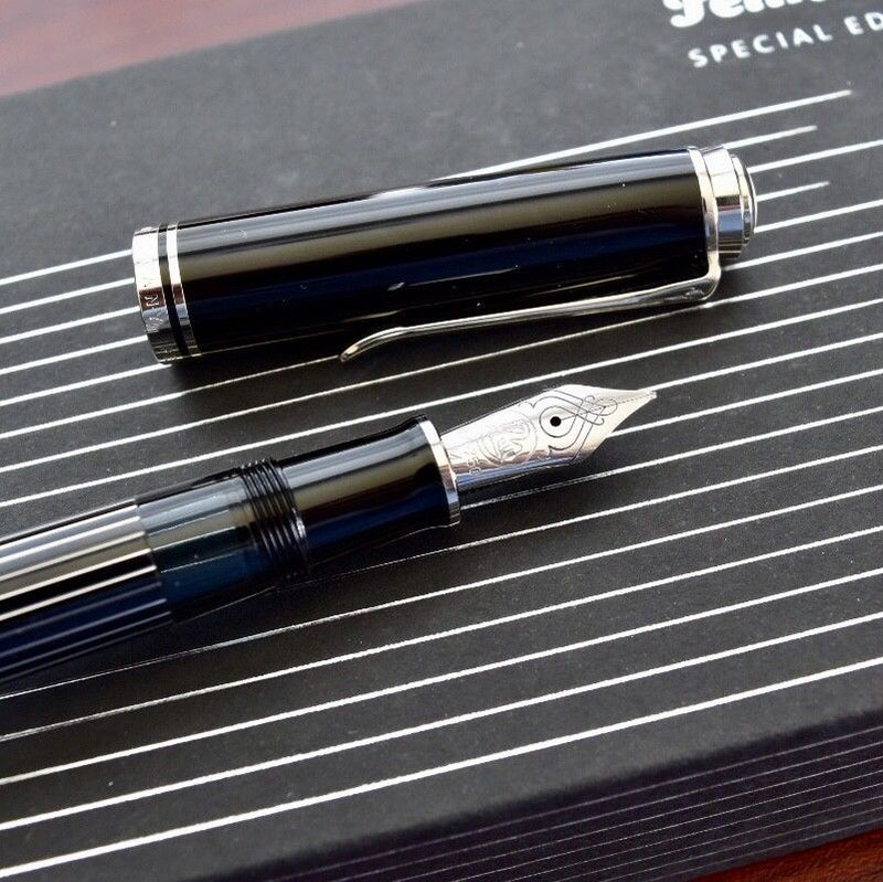 Pelikan M815 Special Edition Souveran Black & Metal Striped Fountain Pen M Nib