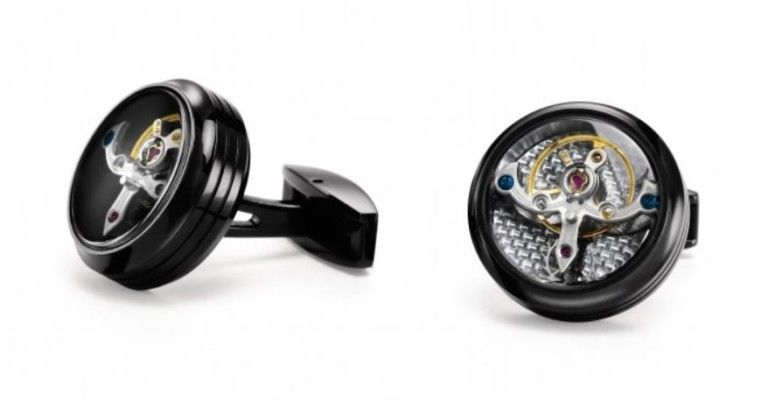 TF Est 1968 Tourbillon Model Black PVD Silver Carbon Cufflinks Set Watch Themed