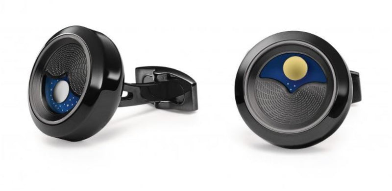 TF Est 1968 Planet Blue with Black PVD Rotating Sun & Moon Disk Cufflinks Set