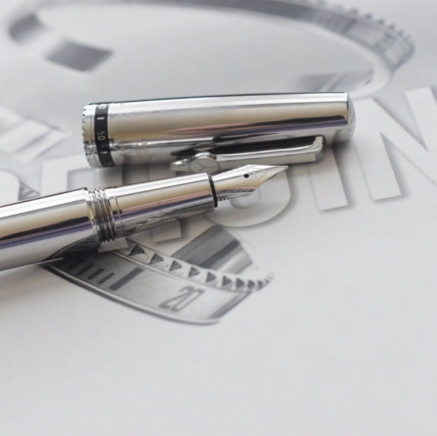 Speedometer Official Silver Steel with Black & Grey Spare Ring Fountain Pen-Speedometer Official-Truphae