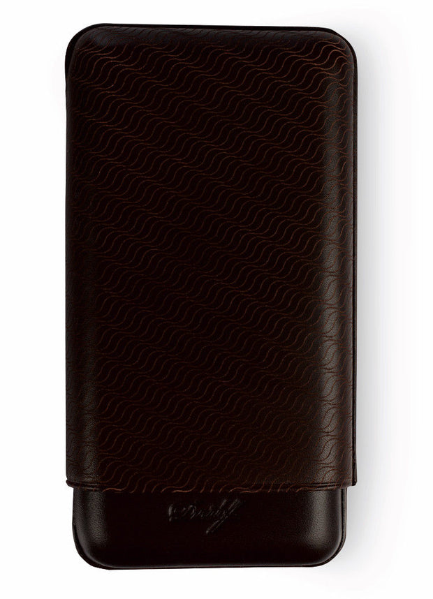 Davidoff Brown Leather Enjoyment Pattern XL-3 Triple Three Cigar Case 106759-Davidoff-Truphae