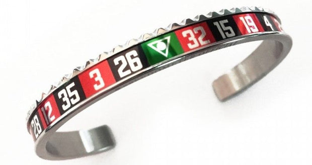 Speedometer Official Silver Steel & Red Black Roulette Casino Bangle Bracelet-Speedometer Official-Truphae