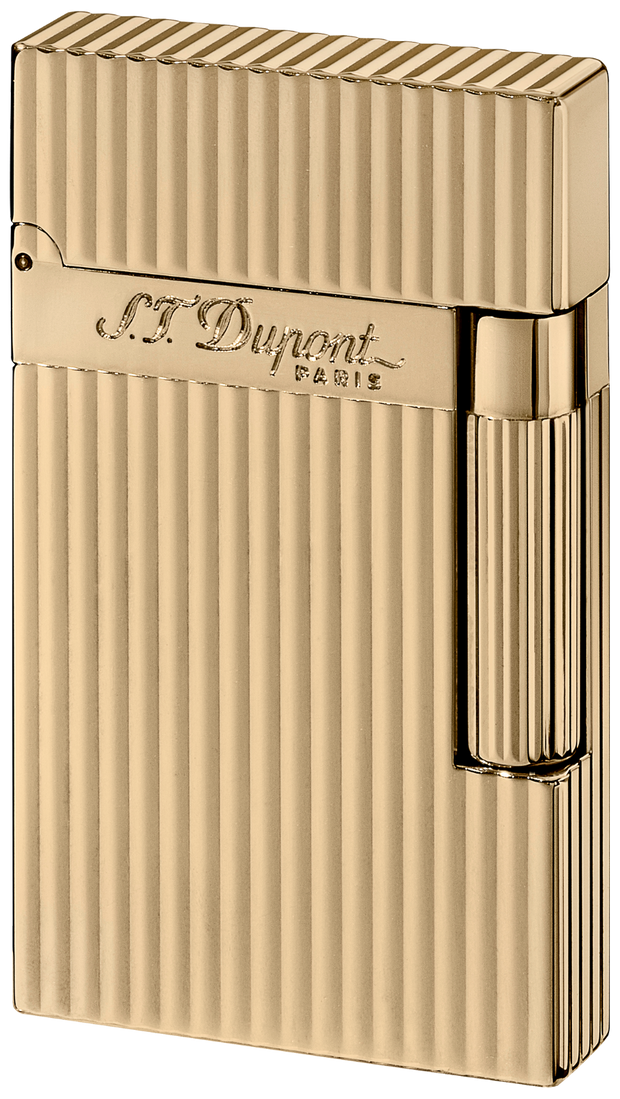ST Dupont Ligne 2 Yellow Gold Finish Striped Pattern Lighter ST016827-ST Dupont-Truphae