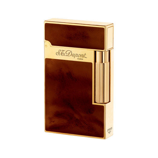 ST Dupont Atelier Dark Brown Yellow Gold finish Natural Lacquer lighter ST016126