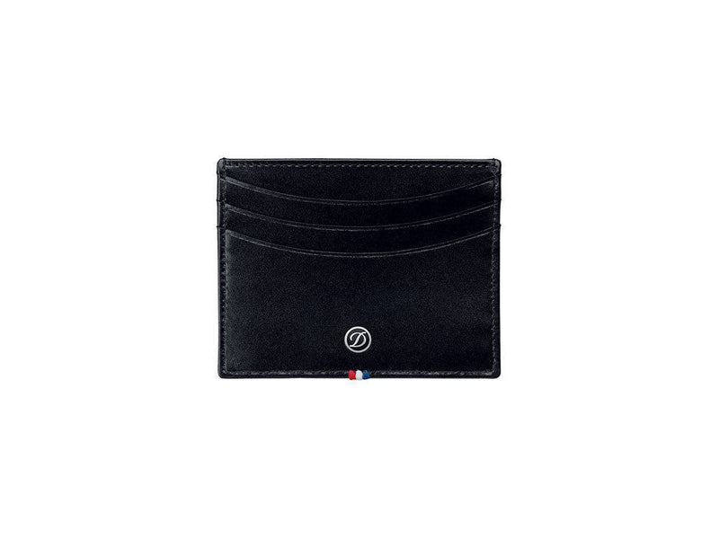 ST Dupont Line D Black Leather 6 CC Credit Card Holder ST180008