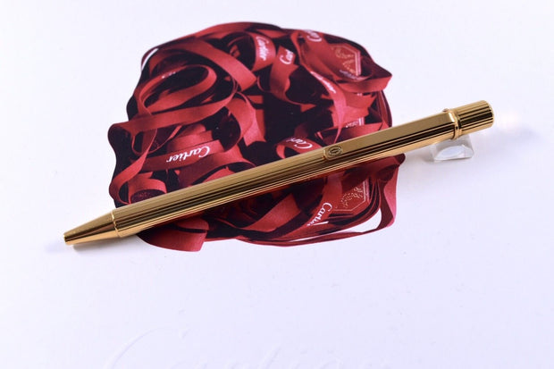 Trinity de Cartier Gold Plated Pinstripe Pattern Ballpoint Pen No Box-Cartier-Truphae