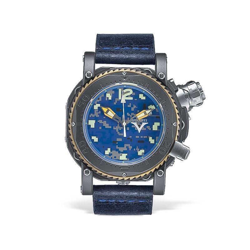 Visconti Abyssus Pro Dive 3000 Camo Urban Navy Stainless Steel Automatic Watch