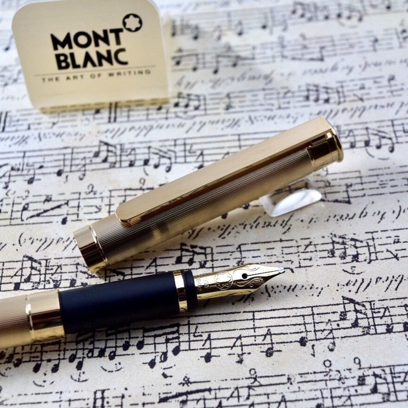 Montblanc Noblesse Full Gold Plated Barley Pattern Fountain Pen 18k OBB Nib