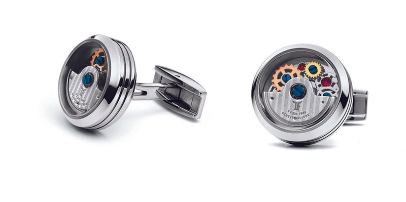 TF Est 1968 Rotor Model Stainless Steel Rotating Balance Wheel Cufflinks Set
