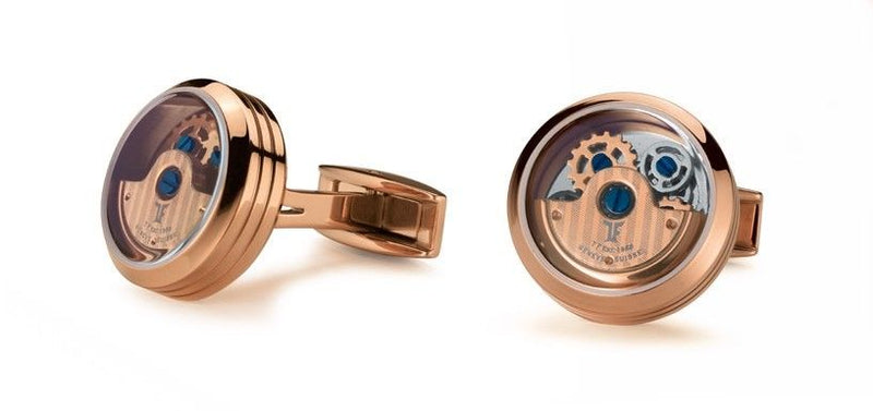 TF Est 1968 Rotor Model Rose Gold Plated Rotating Balance Wheel Cufflinks Set