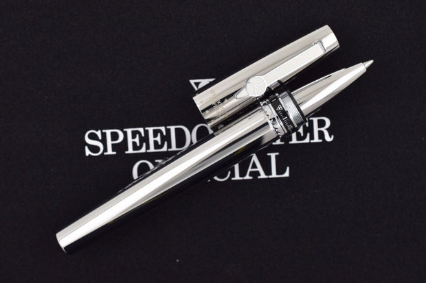 Speedometer Official Silver Steel with Black & Grey Spare Ring Rollerball Pen-Speedometer Official-Truphae
