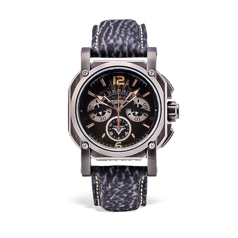 Visconti Italy 2 Squared Chronograph Dark Cloud Stainless Steel Automatic Watch