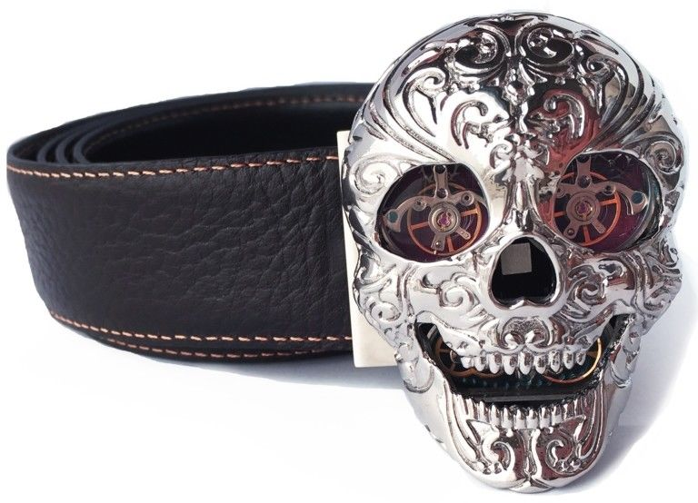 TF Est 1968 Skull Model Shiny Steel Balance Wheel Eyes Watch Themed Belt Buckle