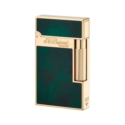 ST Dupont Atelier Green & Yellow Gold Finish Natural Lacquer lighter ST016259