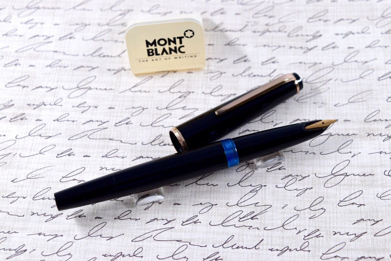 Vintage Montblanc No. 32 Black & Gold Plated Trim Piston Fountain Pen 14k M Nib