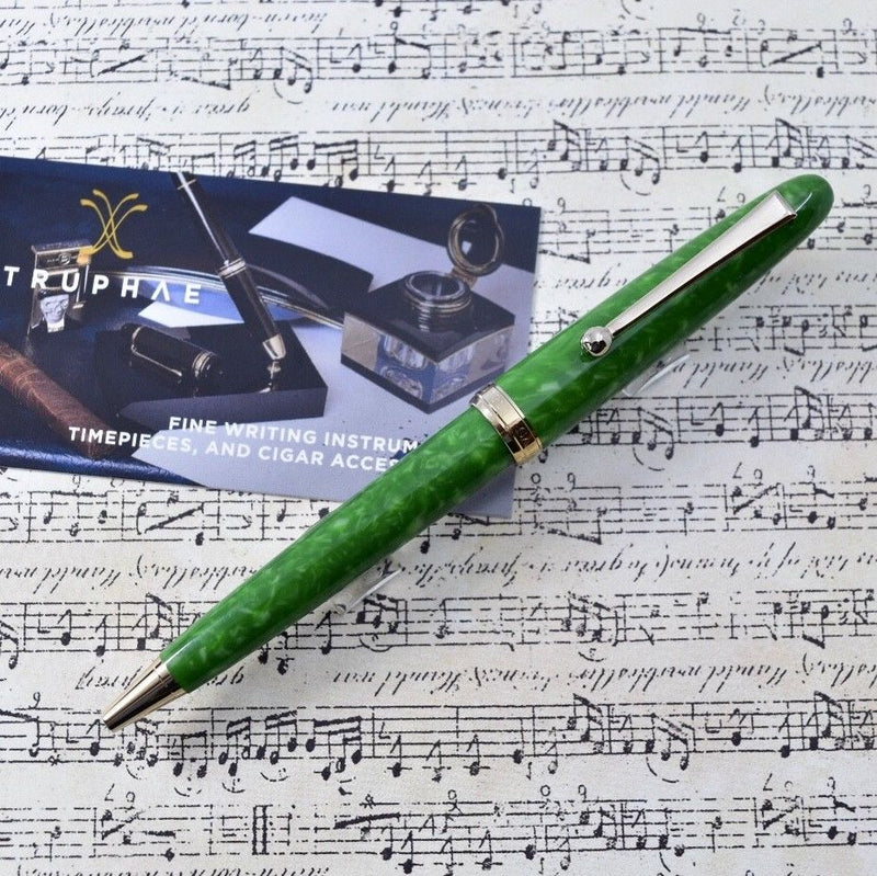 Sailor 1911 Magellan Jade Bright Green Marble & Gold Plated Trim Ballpoint Pen
