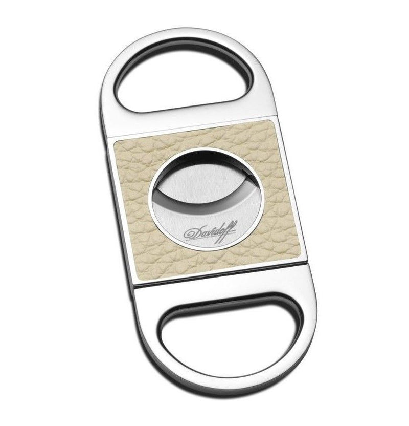 Davidoff Creme / Cream Beige White Leather Double Blade Cigar Cutter 101752