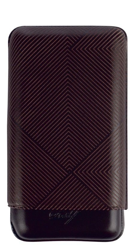Davidoff Brown Leather Leaf Pattern XL-3 Triple Three Cigar Case 105583