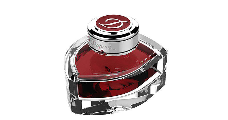 ST Dupont 70ml Rouge Flamboyant Red Fountain Pen Ink Large Shield Shaped Bottle