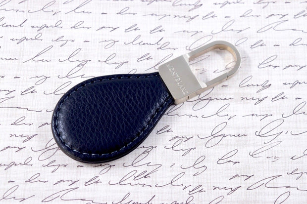 Montblanc Jewellery Matte Steel Black Leather Key Ring Fob 114562