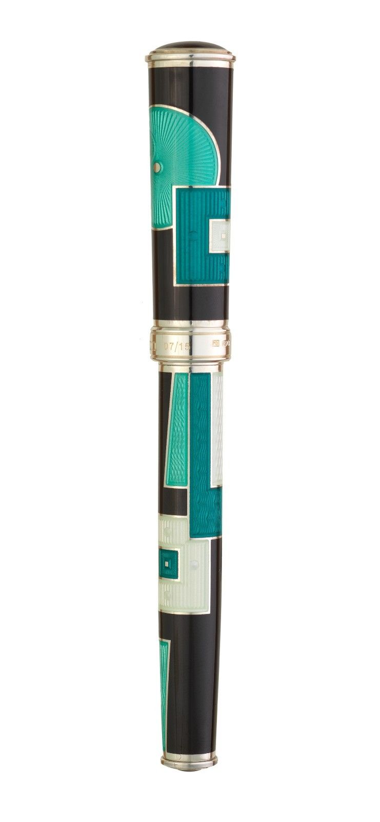 David Oscarson 15th Anniversary American Art Deco Black Teal Rollerball Pen